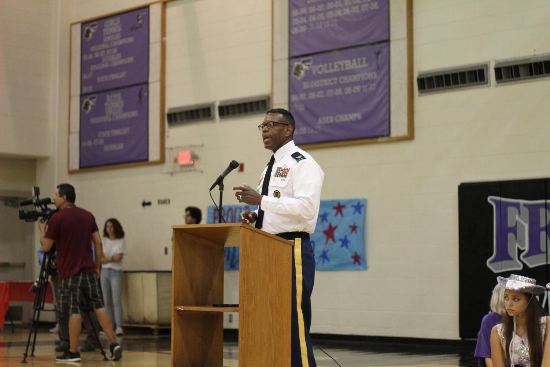 PHOTO BY JAZMINE PRIETO Ret. Col. Leonard Wells addresses a quiet audience on September 11. Wells is an EPISD JROTC facilitator.