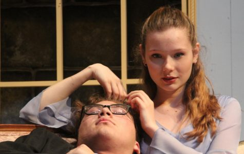 Seniors Jenna Murphree and Ethan Lawson in a Blithe Spirit.
